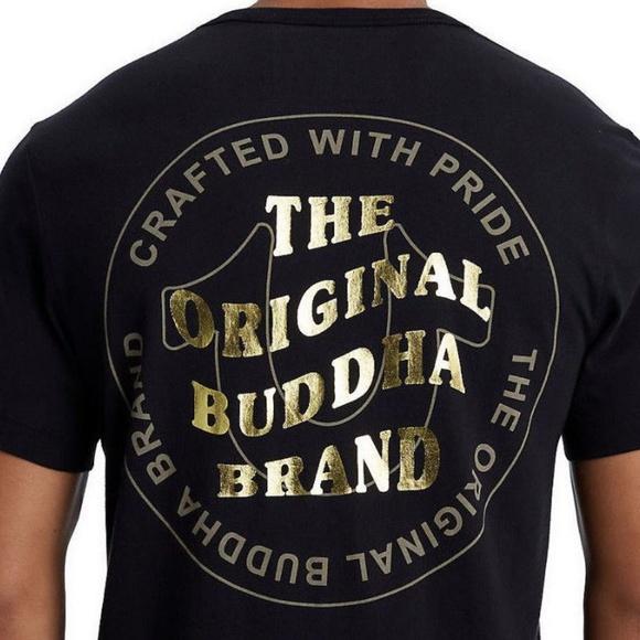 0308492a True Religion Shirts | Mens Wavy Buddha Brand Gold Metalli | Poshmark